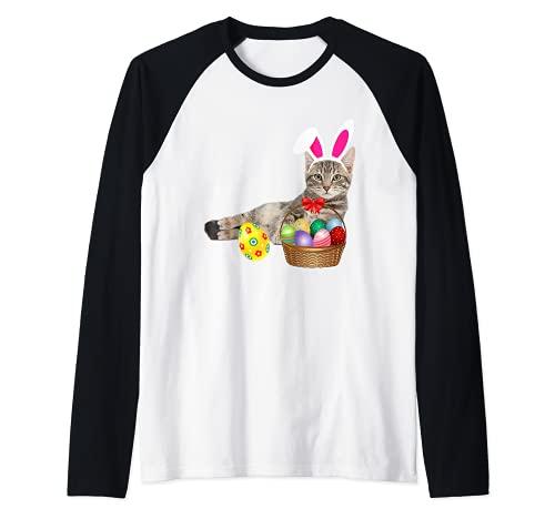 Lindo gato da de pascua conejito huevos disfraz regalo Camiseta Manga Raglan