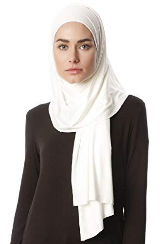 Ecardin Hijab Jersey Premium Melek - Schwarz Elastisch Jersey Schal (Creme)