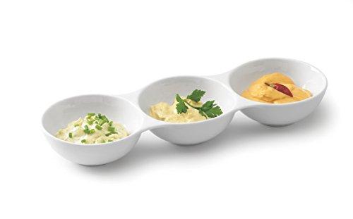 Tognana Antipasti-cáscara para Salsas Porcelana Knabberschale, con Tres segmentos, 37 x 12 x 6 cm