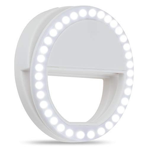 Selfie Ring Light, HONGDAYI Clip On Selfie Light for Phone Camera 3-Level Brightness Small Ring Light Selfie Ring Light for Phone, Laptop, Tiktok, Photography, Video, Makeup (White)