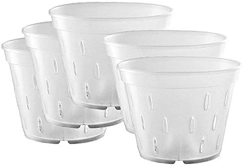 Orchid Pots with Holes, Clear Orchid Pots Plastic Planter Clear Flower Pot Indoor 7 Inch 5 Pack