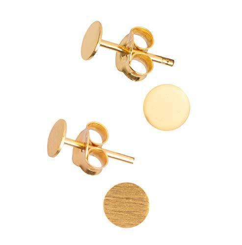 2 Paar kleine flache runde Gold 925 Silber Ohrstecker Ohrringe poliert und matt 4mm