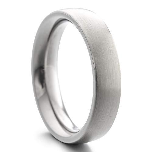 Heideman Ring Damen und Herren Paari aus Edelstahl Silber Farben poliert oder matt Damenring für Frauen und Männer Partnerringe 5mm breit schmaler gewölbter Ring