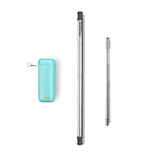 FinalStraw Collapsible, Reusable, Metal Straw | Travel Case, Cleaning Tool | Easy to Clean | Stainless Steel and 100% Silicon Tips | Eco-Friendly | Sea Tur-Teal Case, Silver Stainless Steel