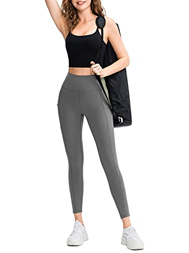 NOWREIGN Leggings with Pockets for Women High Waisted Yoga Pants for Women Butt Lifting Workout Leggings for Women Grey L