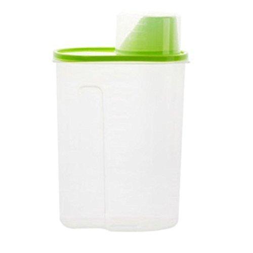 Dispensador de alimentos secos para comida de mascotas, cereales, café, té, 1,9 l verde