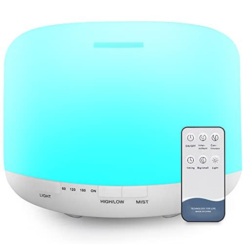 500ml Diffusore di Oli Essenziali, Senza BPA Umidificatore ad Ultrasuoni con Telecomando e 7 Diverse Luci Mutevoli -Spegnimento Automatico Senza Acqua
