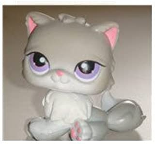 Hasbro Littlest Pet Shop Kitten Persian Cat # 251 (Light Gray with Pink Highlights and Purple Eyes) - LPS Loose Figures - Replacement Pets - LPS Collector Toy (Out of Package/OOP)