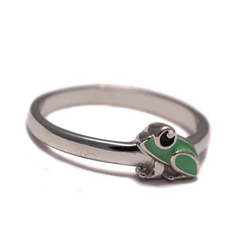 Frosch Kinder Ring süß grün, Kinderring 925 Sterling Silber, Amphibien Mädchen Schmuck, Tier Zoo Silberring nickelfrei