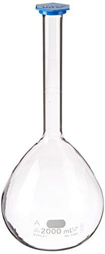 Corning Pyrex Borosilicate Glass Class A Flat Bottom Volumetric Flask with Polyethylene Snap-Cap, 2000ml Capacity (Case of 4)