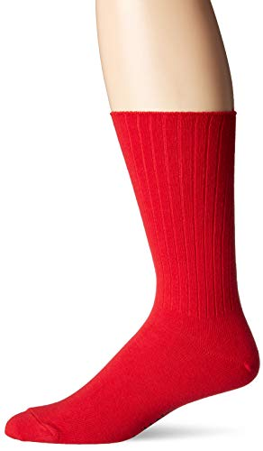 Chaps Men's Ribbed Solid Crew Socks, red, Shoe Size: 6-12