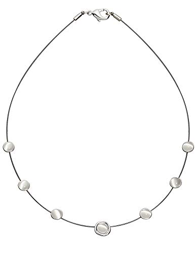 Perlkönig Collier Kette Halskette | Damen Frauen | Silber Farben | Runde 7 Kreise | Nickelabgabefrei