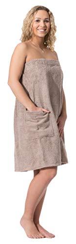 ZOLLNER dames saunahanddoek, katoen, bruine, S/M, klittenbandsluiting