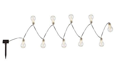 Globo LED Solar Lichterkette Außen Gartenparty Solarleuchte 10 Glühbirnen (Weihnachtsbeleuchtung Flash-Light, 380 cm, Partylichterkette)