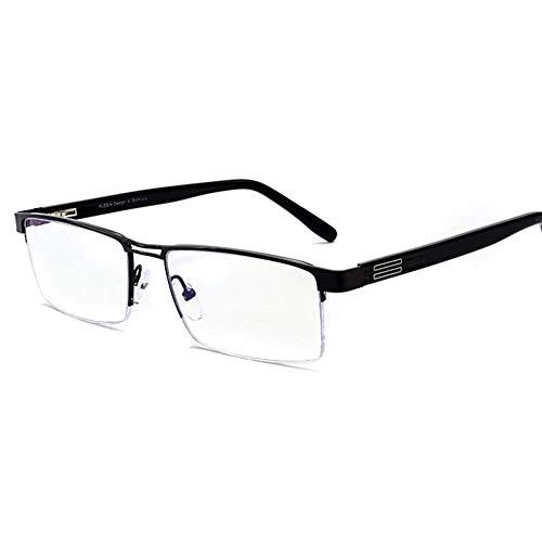 MKKSLR Anti-Blau-Lesebrille, hochwertige Herrenmode Progressive Multifocal Nah- und Fern-HD-Mehrzweck-HD-Brille, ultraleichte Lesegeräte, Smart Zoom-Aluminiumrahmen, Schwarz