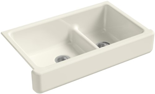 Find Discount KOHLER K-6426-96 Whitehaven Farmhouse Smart Divide Self-Trimming Undermount Apron Front Double-Bowl Kitchen Sink with Short Apron, 35-1/2-Inch X 21-9/16-Inch X 9-5/8-Inch, Biscuit