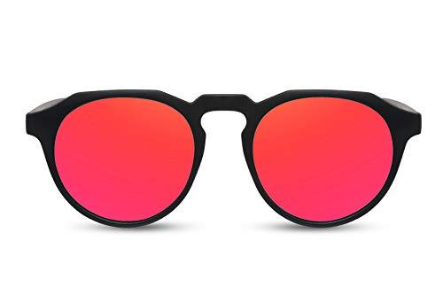 Cheapass Gafas de Sol Populares Negro Mate Redondas con Parte Superior Lisa y Cristales Rojos Espejados Hombres Mujeres