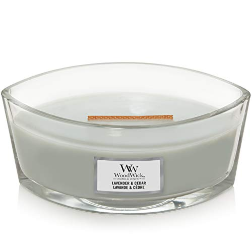 WoodWick Ellipse Scented Candle with Crackling Wick | Lavender and Cedar | Up to 50 Hours Burn Time, Lavender