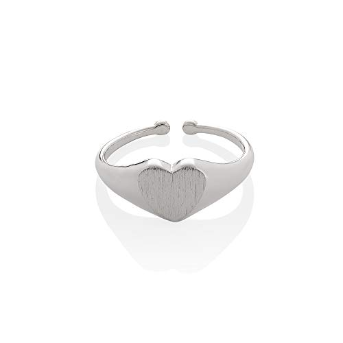 Adjustable Silver Signet Ring for Women, Brushed Finish Silver Heart Signet Rings For Women and Teen Girls, Heart Shaped Open Signet Rings for Women with Brushed Finish, Cute Heart Ring for Ladies