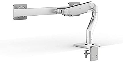 Humanscale M8.1 Adjustable Dual Monitor Arm with Crossbar - Two Piece Clamp Mount - Polished Aluminum M81CMWB2B