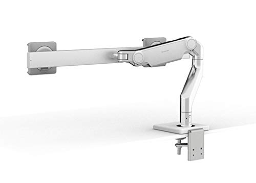 Humanscale M8.1 Adjustable Dual Monitor Arm with Crossbar - Two Piece Clamp Mount - Polished Aluminum M81CMWB2W