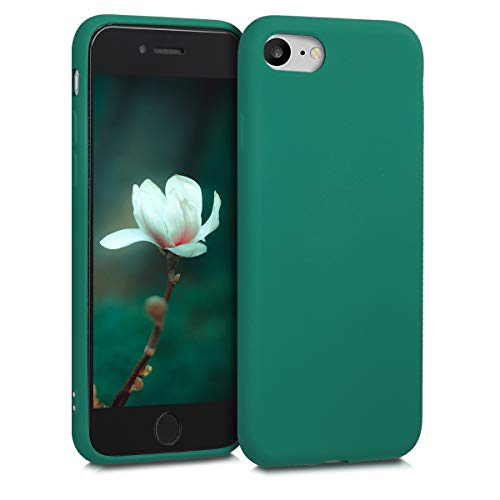 kwmobile Custodia Compatibile con Apple iPhone 7/8 / SE (2020) - Cover Silicone TPU Effetto Metallizzato - Protezione Back Case Morbida Verde Metallizzato