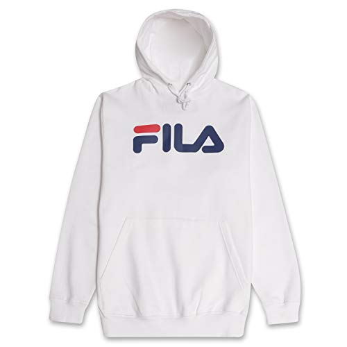 Fila Hoodie Mens Hoodies Pullover Big and Tall Fleece Hoodie Sweatshirt White 2X