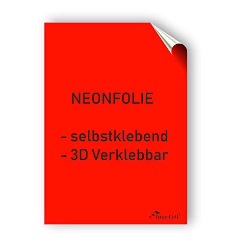 NEONFOLIE selbstklebend, 3D verklebbar - Neonrot im DIN A4 Format von Interfoil