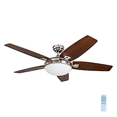 Honeywell Carmel 48-Inch Ceiling Fan with Integrated Light Kit and Remote Control, Five Reversible California Redwood/Mendoza Rosewood Blades, Brushed Nickel from Honeywell