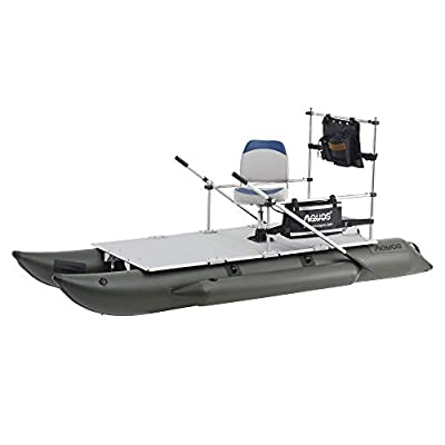 AQUOS New 11.5ft / 12.5ft Heavy-Duty for Two Series Inflatable Pontoon Boat with Stainless Steel Guard Bar and Folding Seat for Fishing, Aluminum Floor Board, Transport Canada Approved