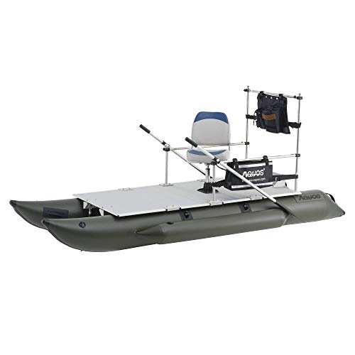 AQUOS New 11.5ft Heavy-Duty for Two Series Inflatable Pontoon Boat with Stainless Steel Guard Bar and Folding Seat for Fishing, Aluminum Floor Board, Transport Canada Approved