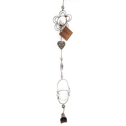 Country Casa – Lámpara colgante de metal, accesorio de pájaro de cerámica, efecto agrietado y corazón de metal calado, portavelas y pequeña campana en el extremo, 50 cm