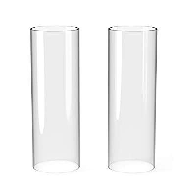 """Hurricane Candle Holders,Borosilicate Glass Chimney,4.75"""" Diameter x 14"""" Height,Open Flame Candle Chimney Glass,Large Bottomless Cylindrical ,Glass Hurricane Candle Shade Set of 2 from TEPU"""