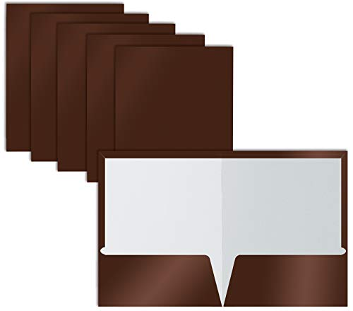 2 Pocket Glossy Laminated Brown Paper Folders, Box of 25, Letter Size, Brown Paper Portfolios by Better Office Products