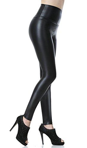 Everbellus Sexy Damen Faux PU Leder Leggins Hohe Taille Hüfthoch Strumpfhose Hose Schwarz XXlarge