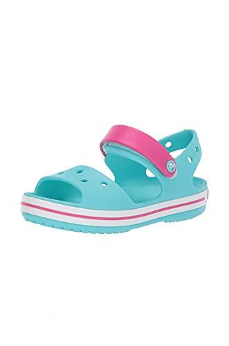 Crocs Crocband Sandal Kids, Sandalias Unisex Niños, Azul (Pool/Candy Pink 4FV), 27/28 EU