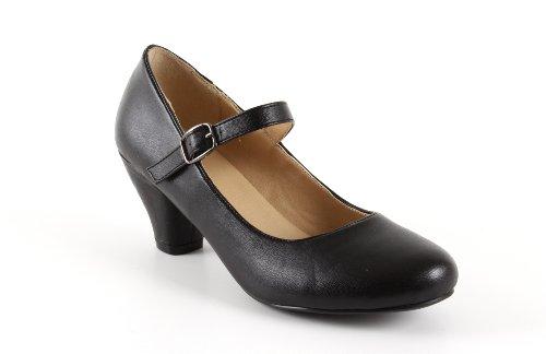 Andres Machado - Mary Jane Damenschuhe für Mädchen mit 5,0 cm Absatz – AM538 – Hohe Schuhe Damen/Pumps Blockabsatz – aus schwarzem Lederimitat - EU 33