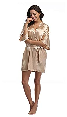 Luvrobes Women's Satin Kimono Robe, Solid Color, Short(Champagne Gold, M)