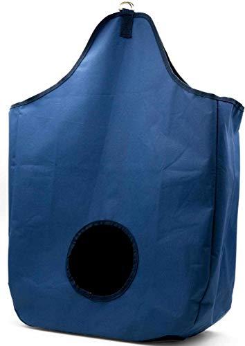 AMKA Heusack Heunetz Heuraufe Heutasche Beschäftigungssack - H: 68cm B: 47cm T: 17cm Futternetz artgerechte Fütterung - für eine Gute Verdauung - dunkelblau