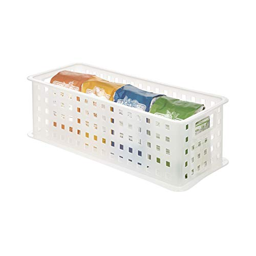 iDesign boîte de rangement à poignées, rangement salle de bain en plastique pour produits de beauté et cosmétiques, panier de rangement empilable pour jouets ou accessoires, blanc