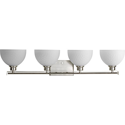Progress Lighting P2090-09 Transitional Four Light Bath from Legend Collection in Pwt, Nckl, B/S, Slvr. Finish, Brushed Nickel