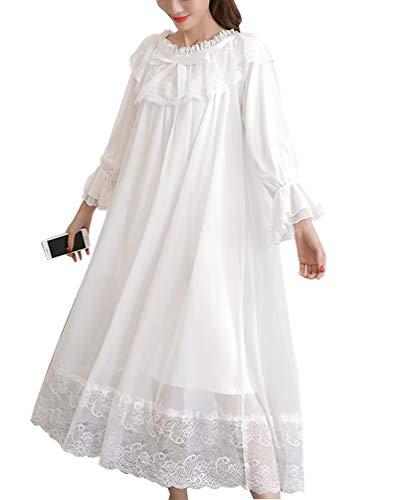 OKSakady Femme Fille Manche Longue Dentelle Robe De Sommeil Princesse Style Gaze Chemise de Nuit La Robe du Soir - Blanc - XL