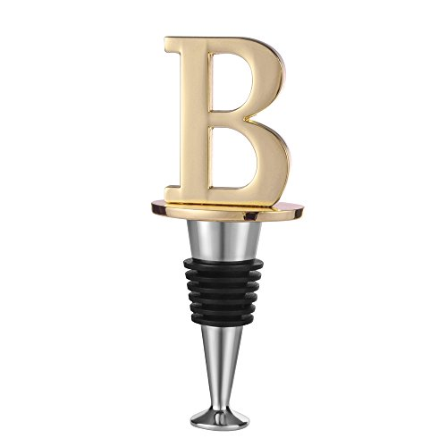 Wine and Beverage Bottle Stopper With Gold Finish (Letter B)