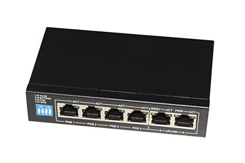 LINK Switch di Rete Poe 60 Watt GIGABIT 10/100/1000 4 Porte Poe+ E 2 Porte UPLINK con FUNZIONI AI Poe, QOS, Extend, VLAN