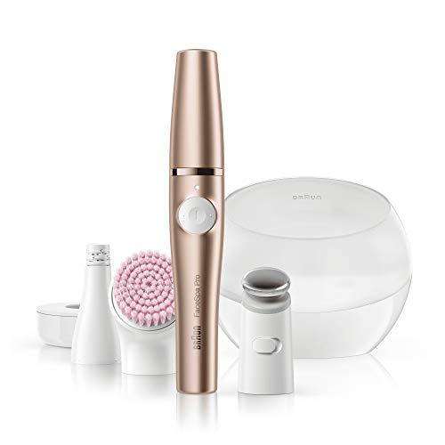 Braun FaceSpa Pro SE921, All-in-One Beauty-Gerät zur Gesichts-Epilation, inklusive Gesichtsepilierer, Aufsatz zur Hautstraffung und Gesichtsreinigungsbürste, Weiß/Bronze