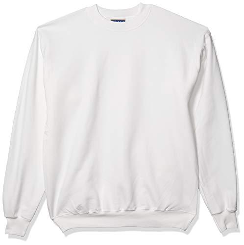 Hanes Sweat à col rond pour homme en coton épais - blanc - Large