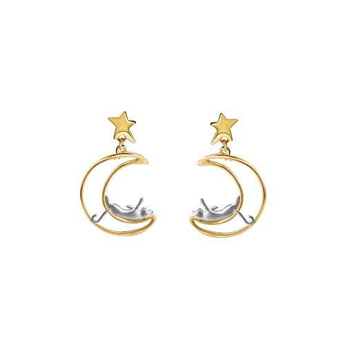Pendientes de plata de ley con diseño de luna y estrella, pendientes de plata y oro para amantes de...