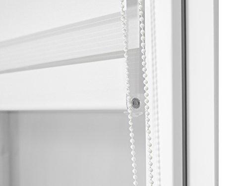 Doppelrollo in 4 Farben & in 8 Größen – mit Klemmfixierung am Fensterahmen und fest montierter Trägerschiene – kinderleichte 3-Step Montage, ca. 80 x 150 cm, weiß - 5