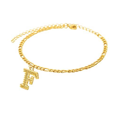 QKFON Tobillera chapada en oro de 18 quilates, con letras iniciales, pulseras de oro, joyería ajustable de pie para mujeres y hombres, talla única