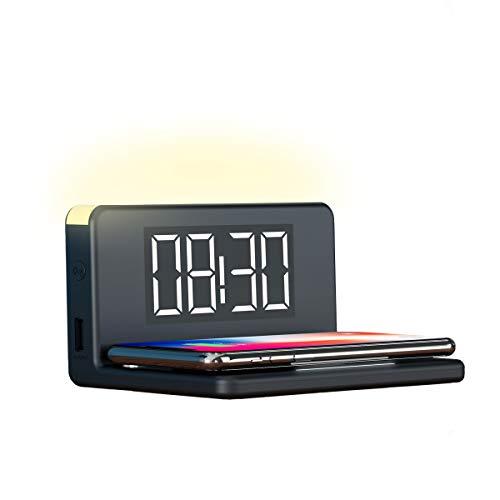 Ksix - Reloj Despertador, Cargador Inalámbrico Fast Charge 7.5w-10w y Luz de Noche